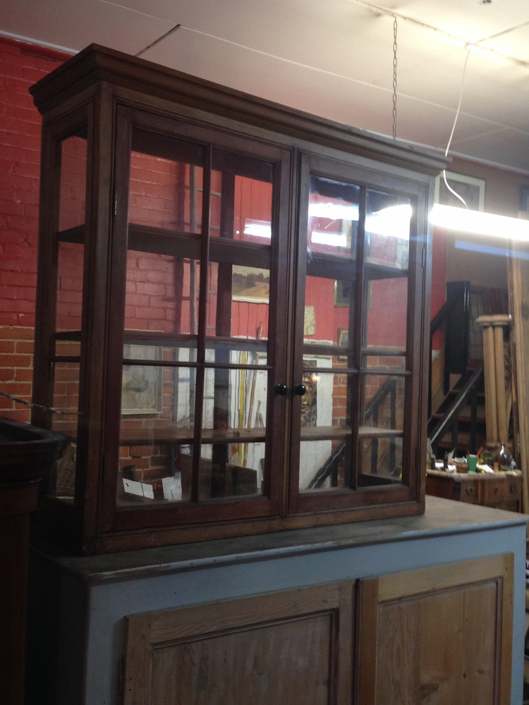 73 GLAZED PINE DISPLAY CASE $850